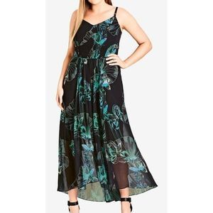 City Chic Black Floral Noriko Maxi Dress 20 NEW
